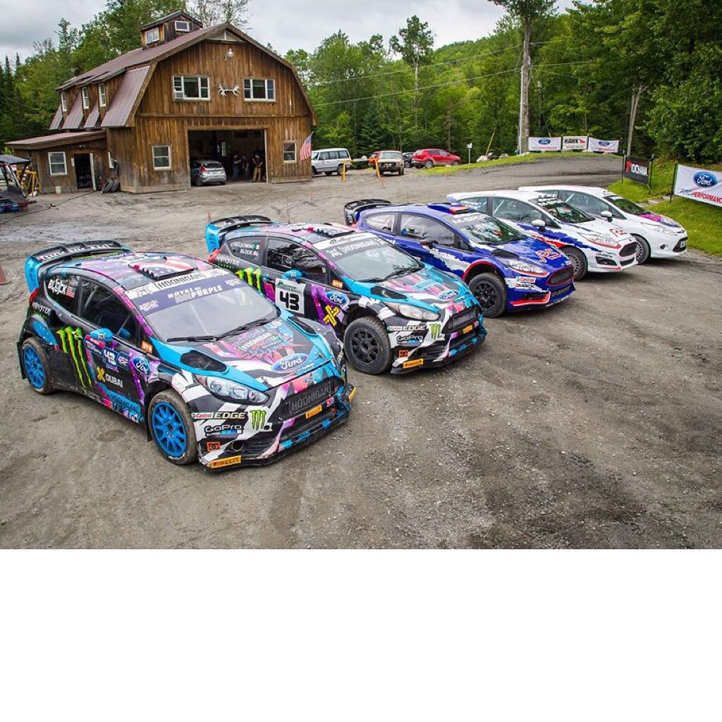 Serious Ford Fiesta party at the @TeamONeil Rally School last week! Check out the lineup, from left to right: My RX43 rallycross car, my HFHV stage rally/gymkhana car, @MSportLTD's new R5 2ltr and R2 1ltr, and the R2 that my wife raced at New England...