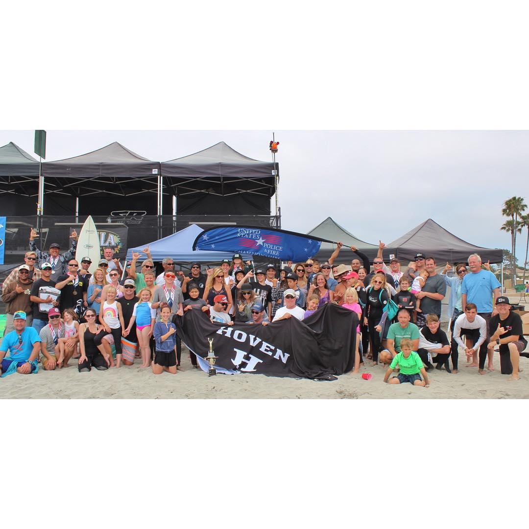 #throwbackthursday to when Hoven sponsored the police, fire, and lifeguard surf competition at the Oceanside Harbor!! A huge thanks to everybody in the service that protects us daily.  #teamhoven #ohana #hovenvision #oceansideharbor #police...