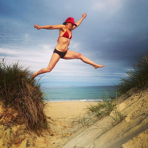 #miolagirls find fun everywhere they go! || @insta_susi in our Tira Halter & Casita Boyshorts || #getoutthere #miolamazing #jump #summerfun #beachfun