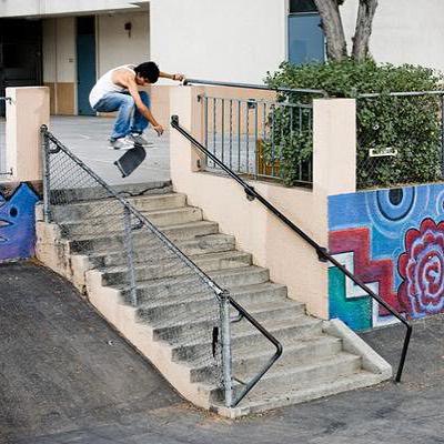 @listoassfoo w/ a kick flip over the rail in #funboxdist super street decks shot by @brianwalnum #skatelife #skateboard #skateboarding #skateshop #cali #getbuck #street #hammer #thankyouskatebaording