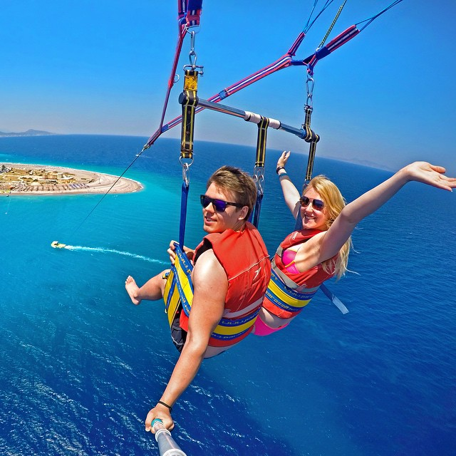 Parasailing above the Aegean Sea in Rhodes Town, Greece. Photo: @dimafrench GoPro HERO4 | GoPole Reach #gopro #gopole #gopolereach #parasailing #greece