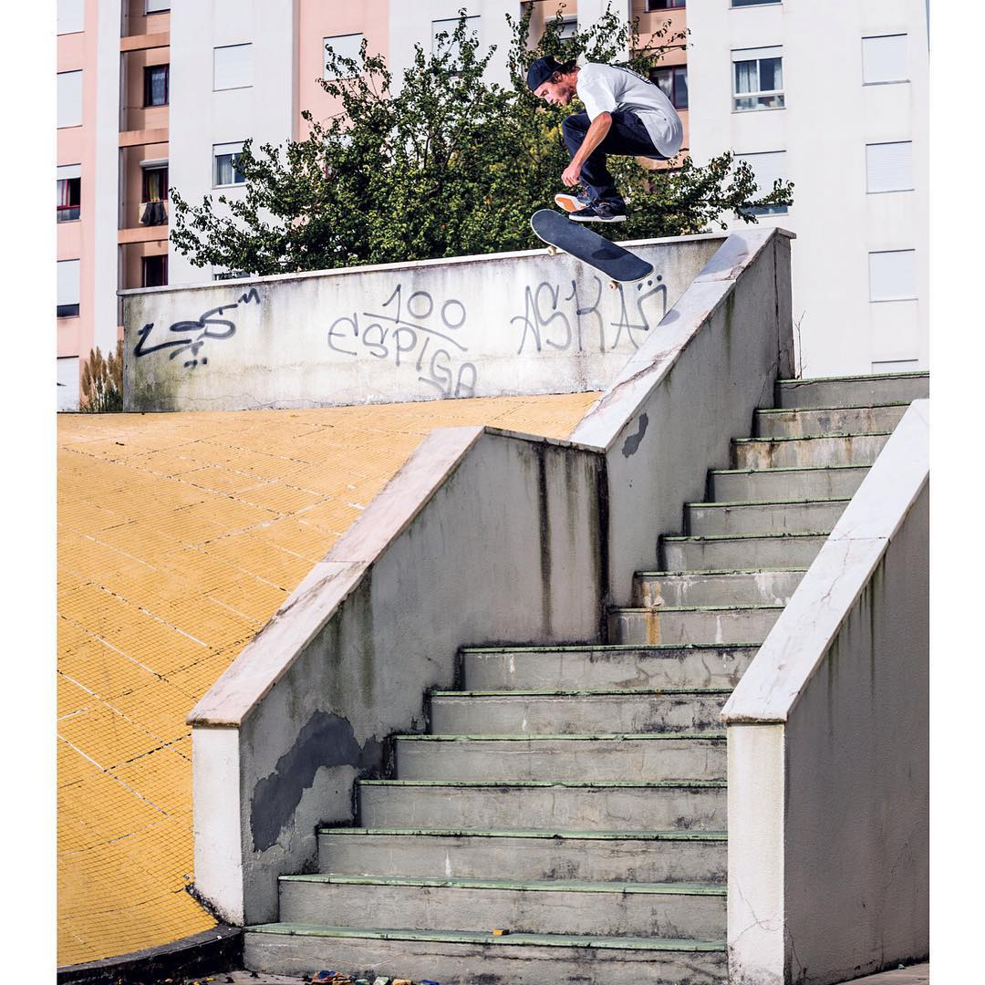 @mattmillerskate, switch 360 flip over the hubba and into bank in Lisbon, Portugal. #MattMiller #DCShoes