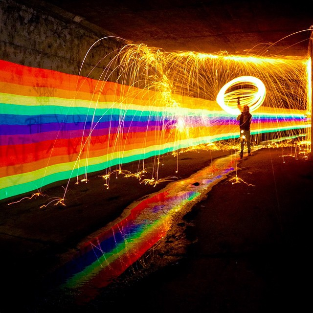 GoPro HERO4 in Night Photo (30 sec exposure, ISO 100) | GoPole Base Photo: @night.crawlers @wesurfoc #gopro #hero4 #gopole #gopolebase #nightphotography #lightpainting @thepixelstick