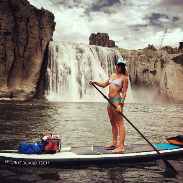 Gorgeous shot of @nevyoga from the Snake River in Idaho! #localhoneydesigns #nicolevickerman #snakeriver #idaho #bikini #waterfall #summer #adventure #nature #beautiful #girlgetoutside #supyoga #love