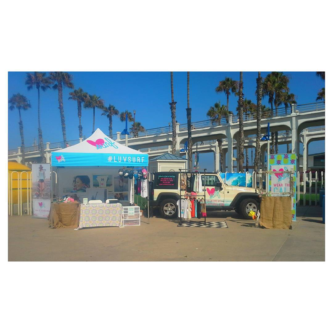 We're all set up at @supergirlpro ! Stop by the luv surf tent and say hi! Giving away free swag at the top of every hour on the hour. #free #luvsurf #sgpluv #supergirlpro #buycoolstuff #yew #surf