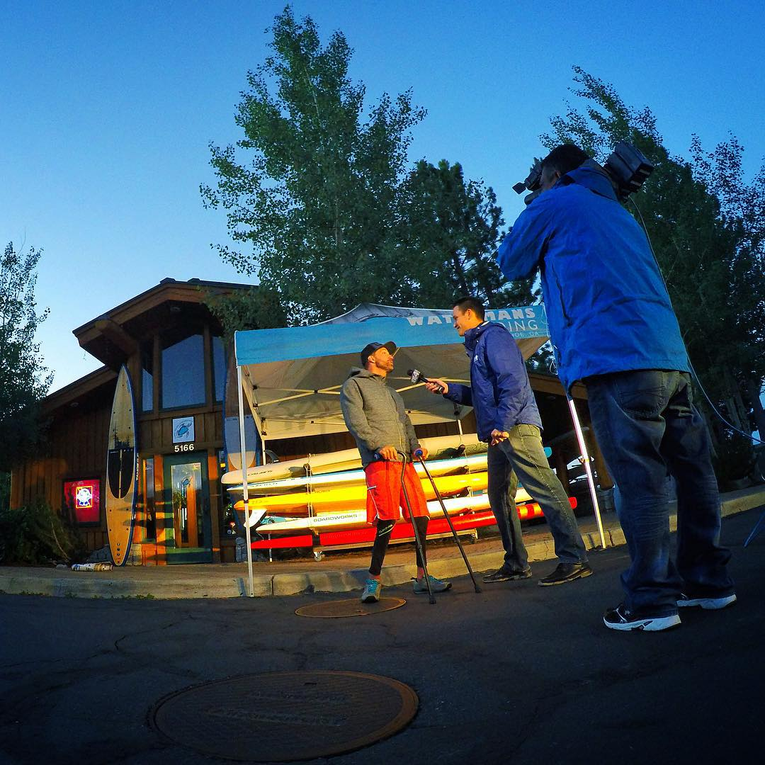And we're live in 3, 2, (oh wait - this was yesterday morning)!!! Good times with #KTNV News Ch4's #RyanKern at Waterman's Landing on #Tahoe yesterday for a sunrise live broadcast about the upcoming @hi5sfoundation #H5FullCircle fund & awareness...