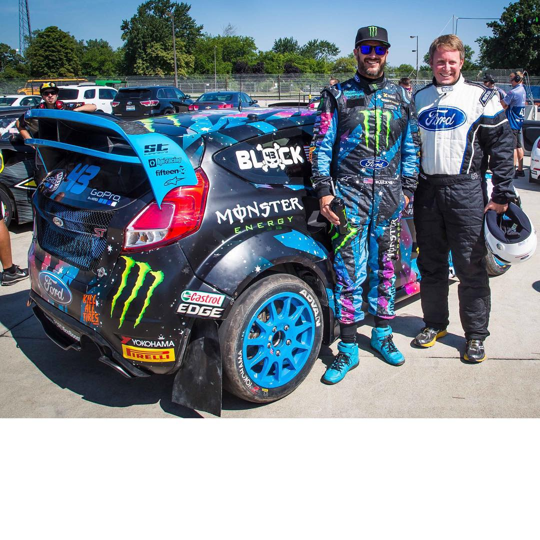 Henry Ford III got a hot lap in one of my racecars once again today! Last week he was in my Ford Fiesta HFHV rally car for a testing run at the @TeamOneil rally school, and earlier today he got the rallycross experience in my Ford Fiesta ST #RX43 here...