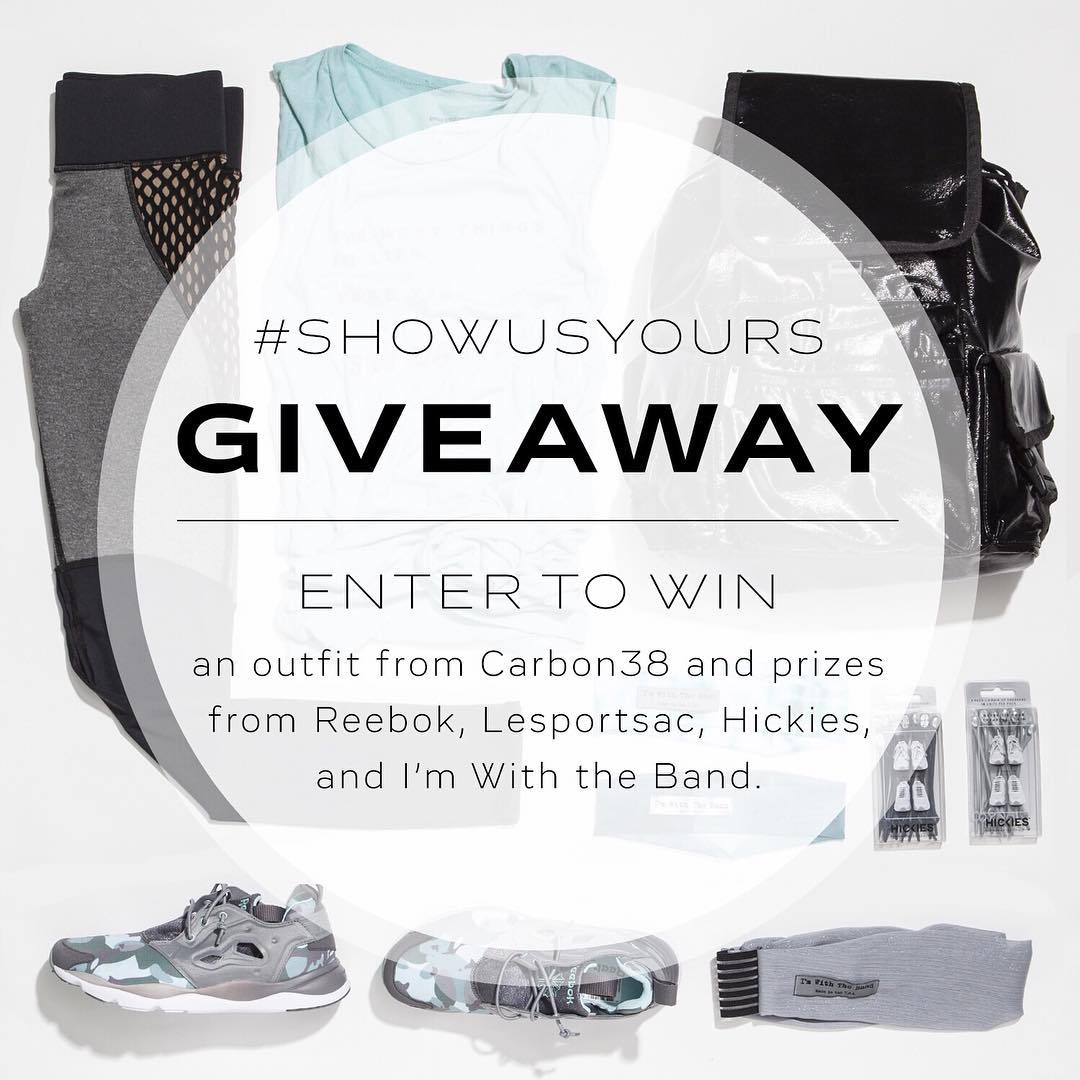 Show us your favorite work out outfit in action and you could win a brand new outfit from Carbon38, a pair of hot new #FuryLites from #ReebokClassics, a new backpack from LeSportSac stuffed with goodies from I'm With the Band headbands and Hickies...