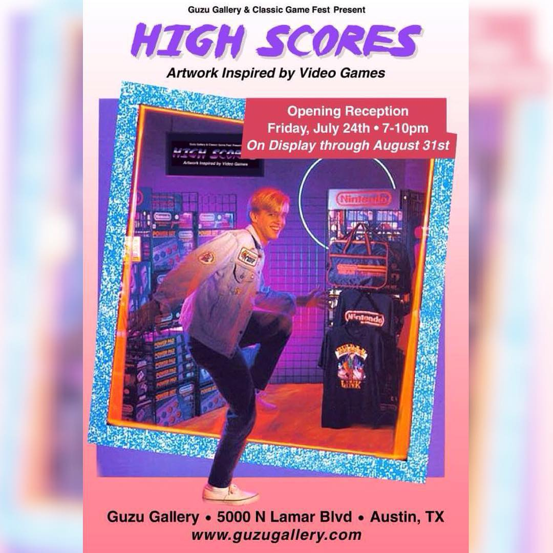 """High Scores"" Artworks inspired by video games @guzugallery starts tonight 7pm-10pm • • You are sure to see a few of your favorite works by @manwithpencil @jenkins2d & @roshi_k plus many more!! • • #atx #art #artshow #guzugallery #do512 #spratx..."