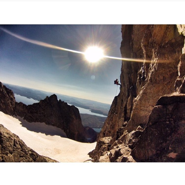 The girls have been getting after it this summer!  Bree @fifty.shades.of.purple rappelling Drizzlepuss on Mt. Moran.