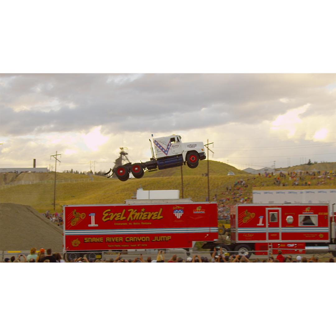 @gregggodfrey set a new world record by jumping a semi-truck 166 feet dirt-to-dirt at Evel Knievel Days in Butte, Mont.  Click the link on our profile page to check out the full clip!