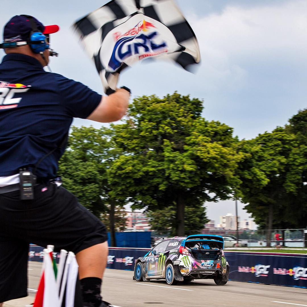 "YES!! Just won #GlobalRallycross round 5 here in Detroit! This is a big win for me in many ways: it means I'm the first winner of GRC's inaugural Detroit race, AND now this 1st place finish makes the ""winningest Global Rallycross driver"" in the series'..."