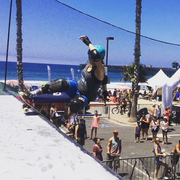 @ameliabrodka representing at @supergirlpro! Check out the EXPOSURE booth and the women's vert contest tomorrow at 1 PM at Oceanside Pier!