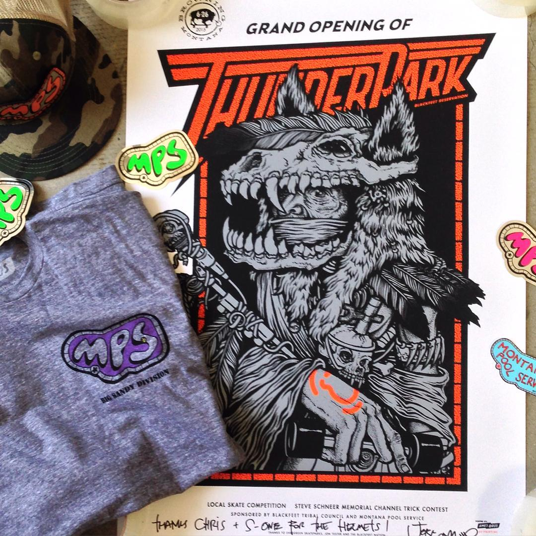 Big thanks to @jeffamentsarmy for the surprise box - #montanapoolservice tshirt and hat and #thunderpark grand opening poster . So rad . Hyped .
