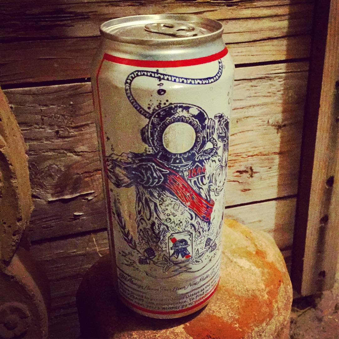 When is a #PBR the best looking thing you've seen all day?? It is when the artwork on the can looks like this, and when you've been out catching waves till dark, and come back hoping for an après surf beverage...and find that a good buddy has left you...