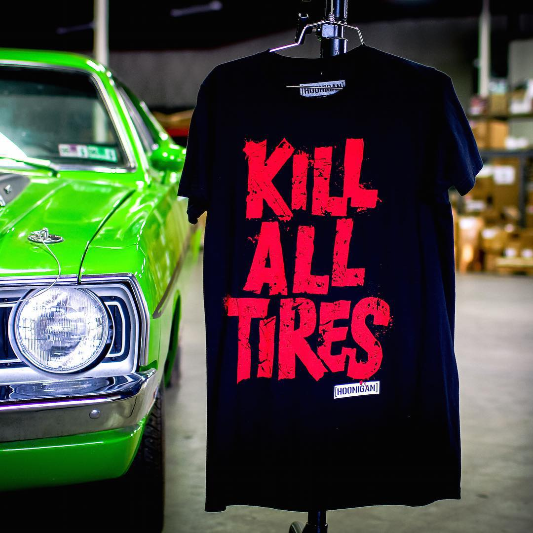 We flipped the #killalltires Tee for the new line. Dig it? Find it at select @tillys and on their webstore. #namethatcar