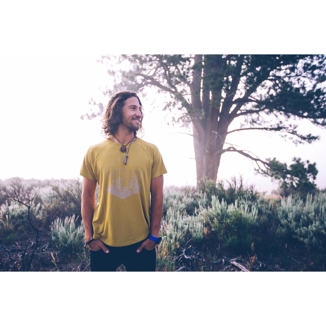The Reforestation tee in gold palm.  @kayalampa by @maxrainoldi  _ #tahoemade #itswayoutthere #DESO #madeinSF