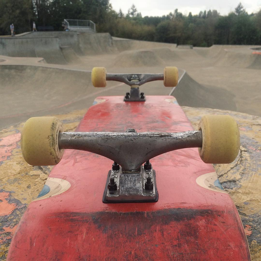 Team rider @brianpeck has been on this set of #parisstreettrucks for 2 solid years and they're holding up great... Looks like he needs to get some more grinds out there! #paristrucks #paristruckco