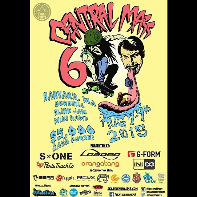 Super proud to be a part of @emgeemann 's Central Mass 6 . One of the biggest skateboarding/downhill gatherings in the US is coming up on august 7th - tons of fun ! #mikegirard #skateboarding #centralmass6 #s1lifer #s1helmets
