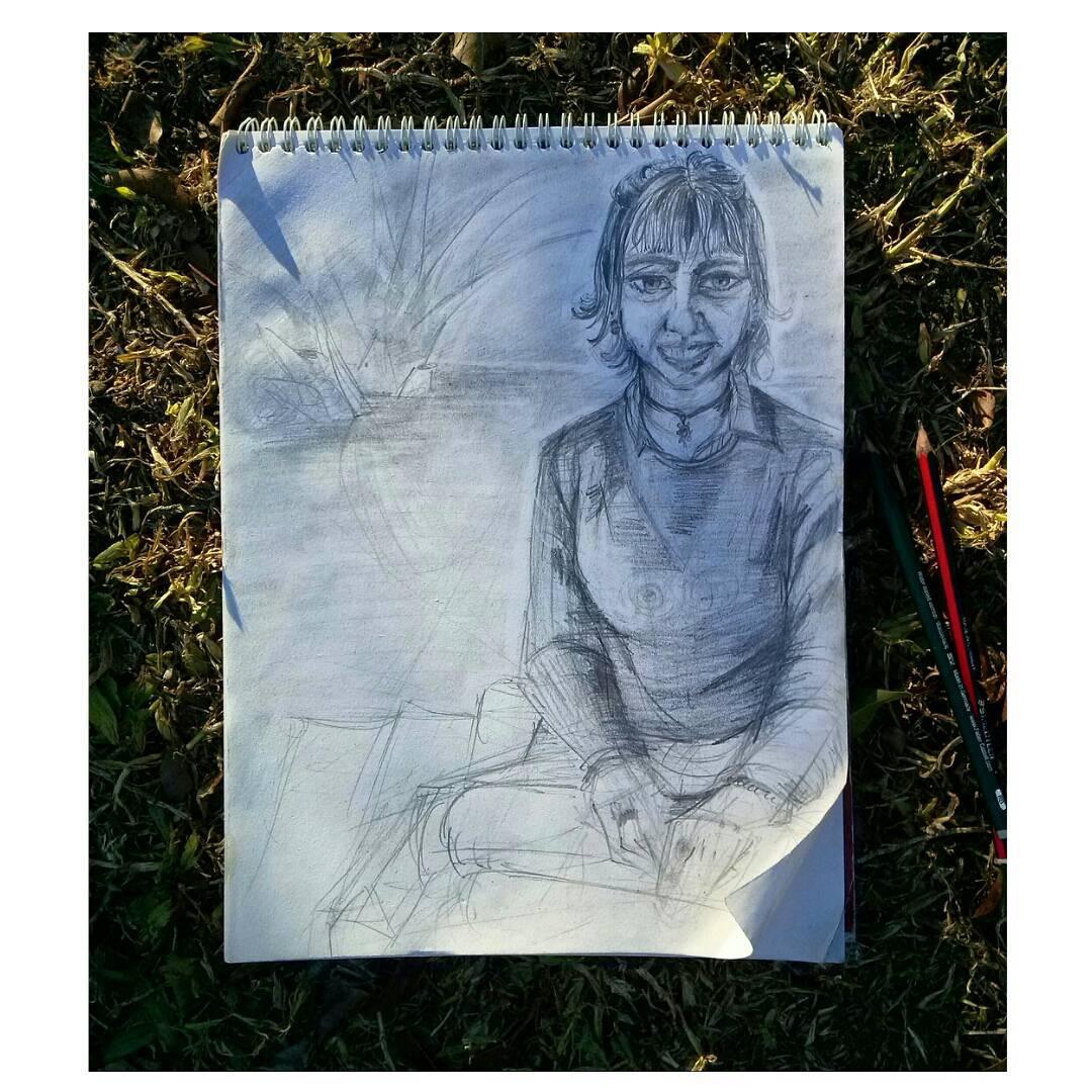 .Entre mate, sol y risas. Amo.  #retratando #dibujo #draw #drawing #model #friend #bff #lapizypapel #winter