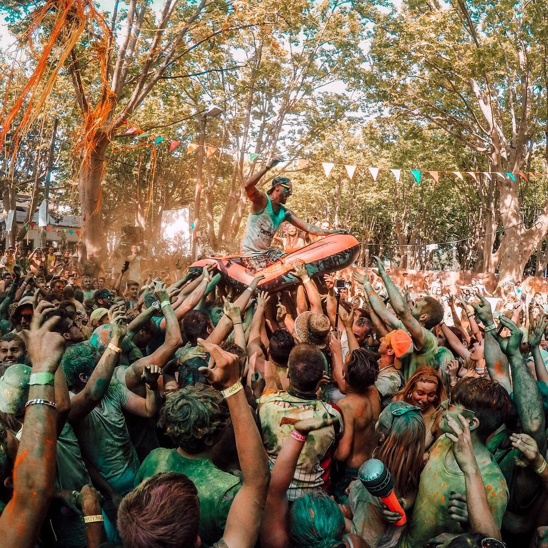"@_alexia_b caught the DJ making an entrance by riding a wave of people during a ""Holi Party"" in France! Submit your best photos by clicking the link in our profile. #GoPro #GoProMusic #MusicMonday"