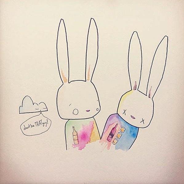 "@matts_contact_sheet • • ""Don't be that guy"" • • #atx #austintx #texas #tx #spratx #art #bunnies"
