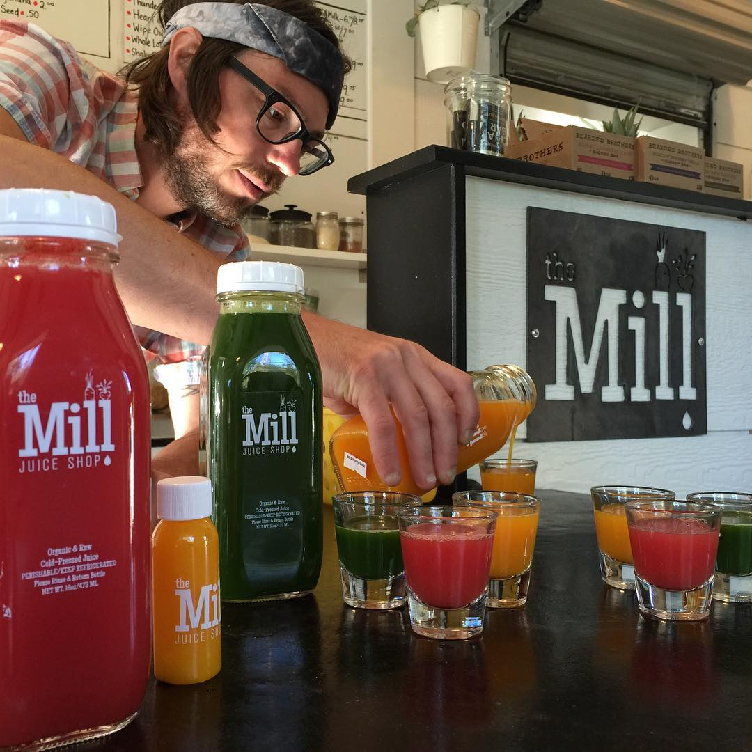 sunrise shots at @themilljuiceshop make me feel like I could workout for 15.5 hours!!! So grateful to #BenWolcott and #MeganPetrilla of #TheMill for their support of the @hi5sfoundation, and for fueling me on this upcoming #H5FullCircle paddle around...