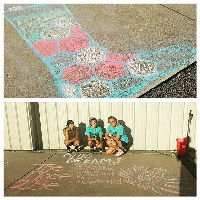 Our friends at @ohiodreams know how to make some #artwork #regram #chalk #camplife #actionsports #streetart #skateboard #grabapair