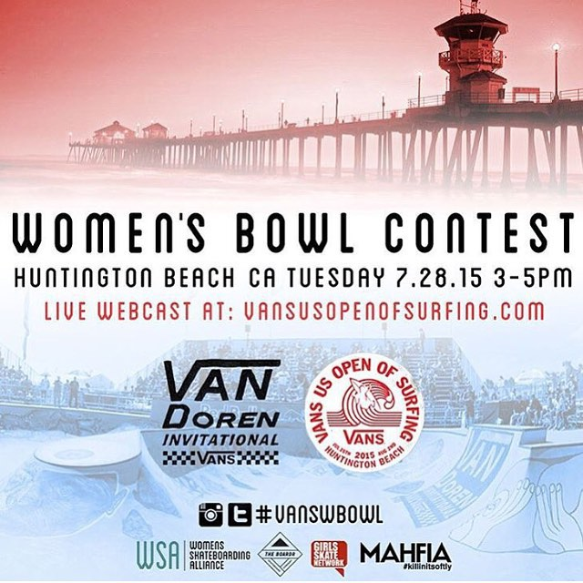 It's about to start!  For the first time ever the #VanDorenInvitational Women Bowl Contest streamed live! Go to vansusopenofsurfing.com and catch the best female bowl riders of the world showing how its done.  It's going live now at 3pm PDT....