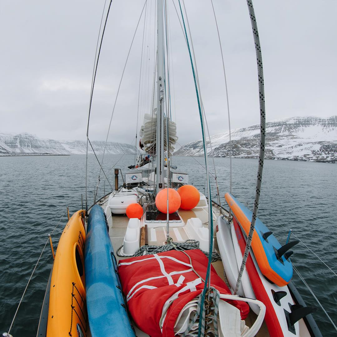 """I'm on a boat""... @alyssalarson_mt and @brodyleven continue sharing trip tidbits below. -------------------------------------------------- ""We slept on the @auroraarkitka for three weeks of our adventure in Iceland. The sailboat served as our base..."