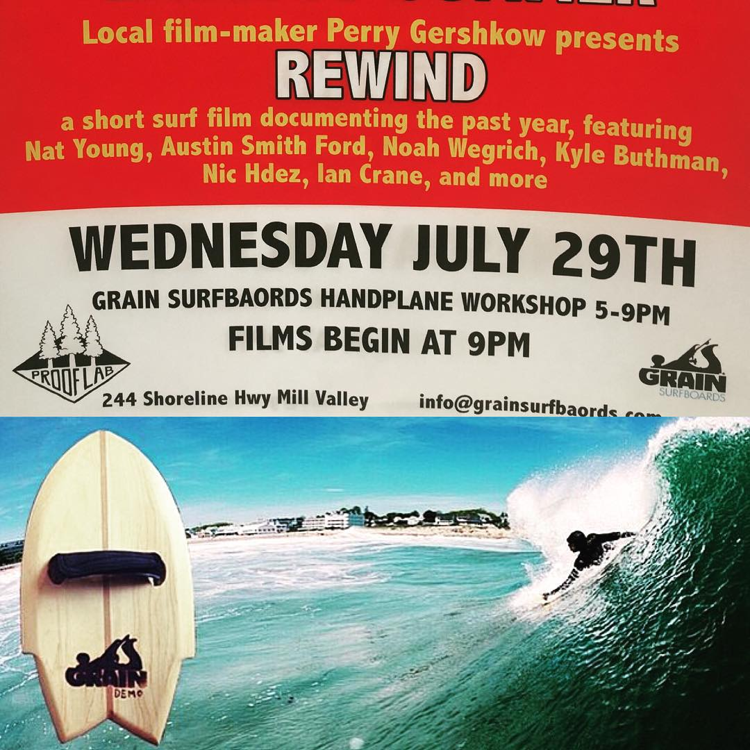 Surf Movies & Miniature SurfboArds? Yes please! Join @grainsurfboards for a Handplane shaping workshop tomorrow 7/29, at @prooflab surf shop in Mill Valley CA, 5-7 or 7-9pm. Come shape your own handplane, (cost of workshop is $95) and then stay for the...