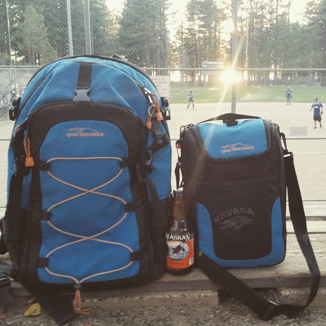 BBQ with the Cascade and some @alaskanbrewing Summer after a fun #softball season.  Looking forward to the playoffs! Go @tahoebluevodka #getoutdoors #ballpark #backpacks #coolers #graniterocx