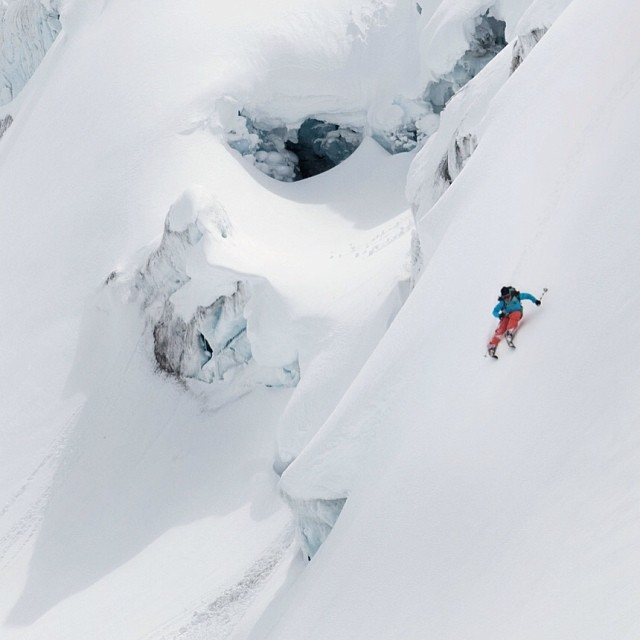 We leave March 25th for #iceland to begin our #sail and #ski expedition to #Greenland. We are partnered with @climatereality to raise awareness about climate change in the region. Here is @natishappy1 #skiing among the #glaciers. Photo by @emilypolar....