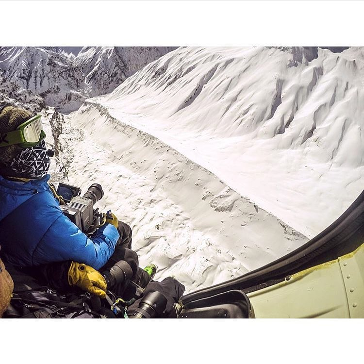 Chris Patterson @cinemacp from @warrenmillerent hangs it all out of the heli on our @llbean trip to the Himalayas. I still can't  believe we got to shred those lines!  Biggest adventure of my life. Check out the seg in the new movie coming out this...