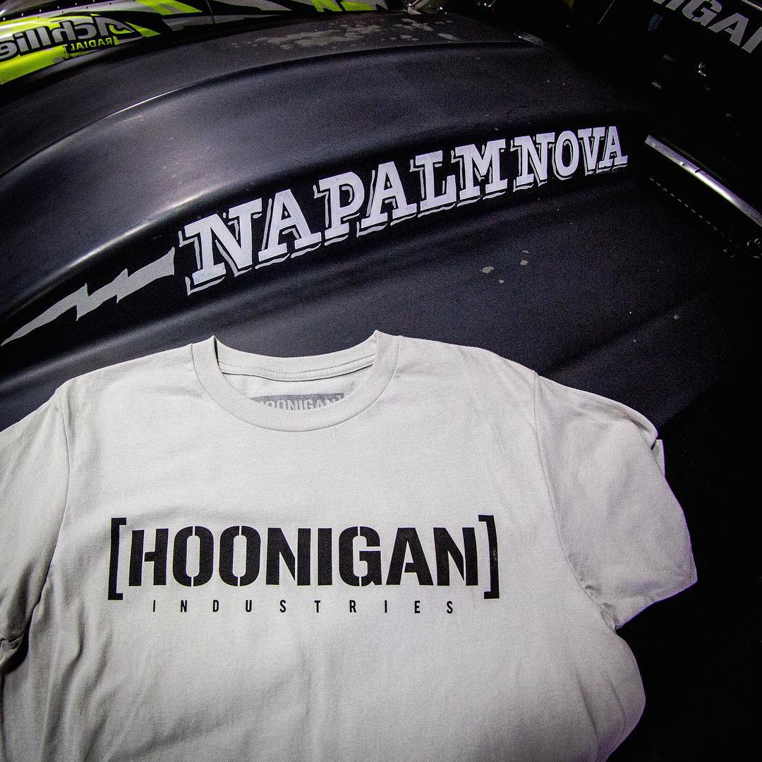 Keep it simple and classic with our Hoonigan Industries Tee available on #hoonigandotcom.