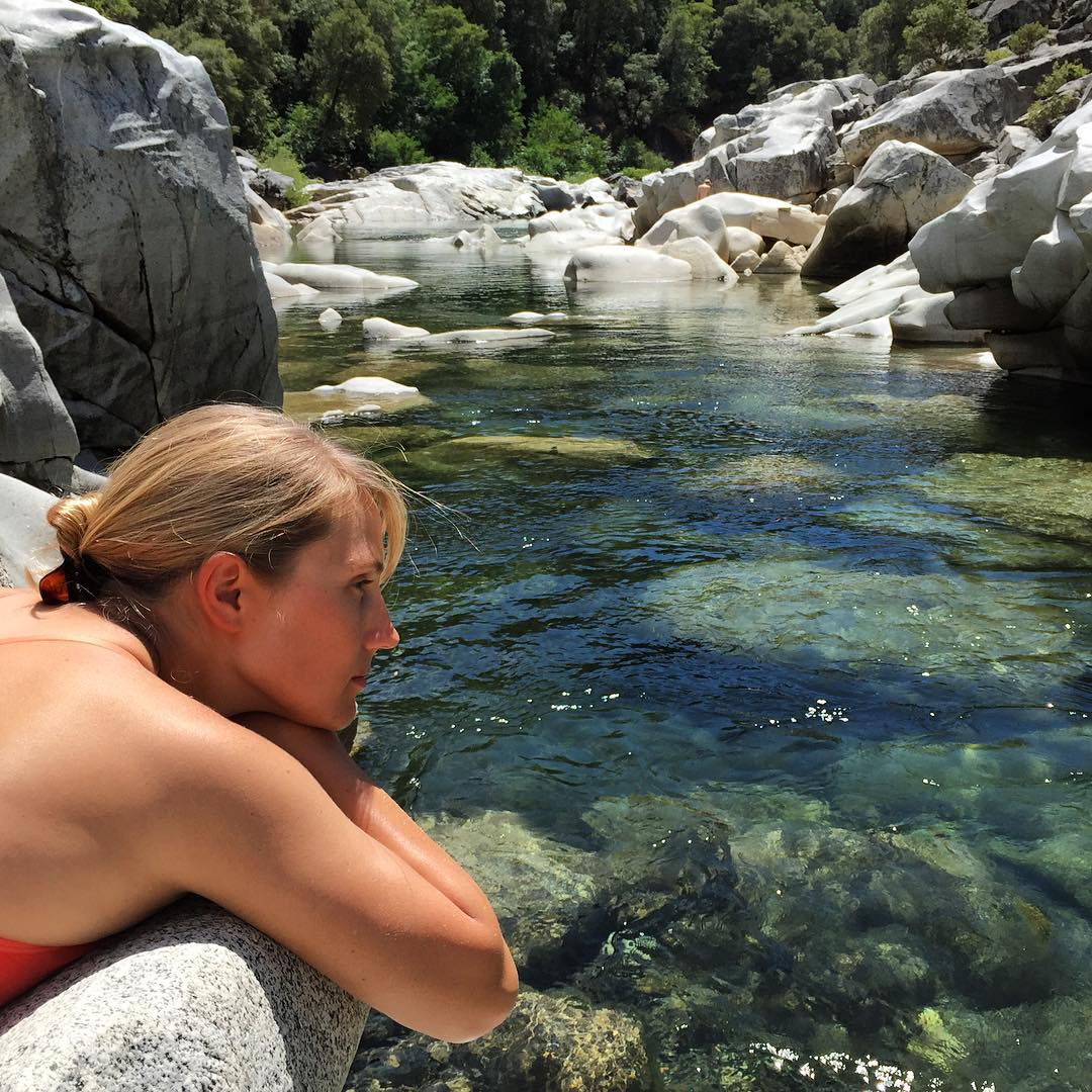 Jessica Kilroy soaks in the clear waters of the #YubaRiver, CA, on a rest day during her summer climbing trip.  She has sampled the Yuba, the Wabash and the Columbia #rivers for #ASCMicroplastics on her journey, and is headed to the Green River...
