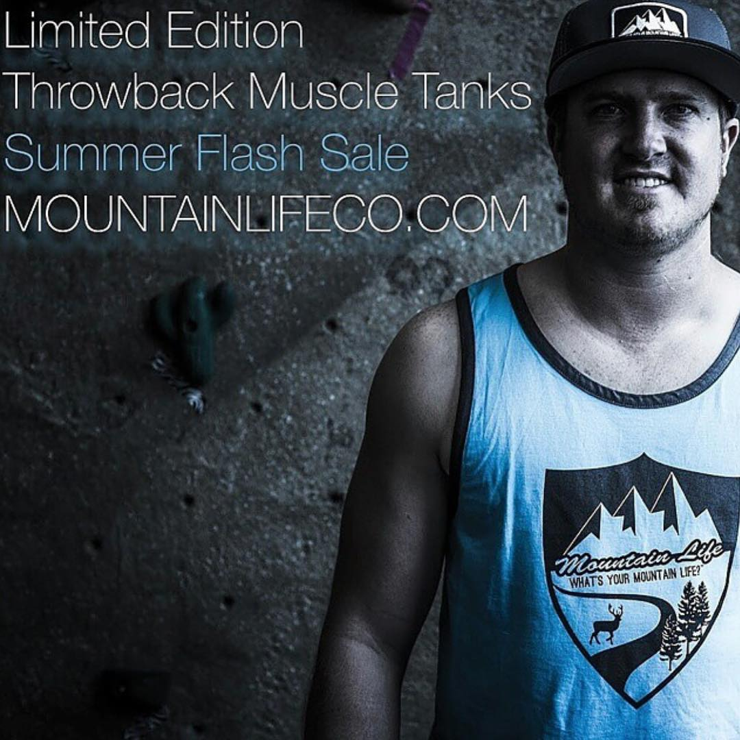"#mountainmen #mountainwomen #summer #flashsale #throwback muscle tanks SALE ""What's your #MountainLife?"" #backcountry #biking #boarding #BMX #bouldering #campvibes #climbing #camping #cycling #rockclimbing #roadbiking #mountainbiking #dirtbarbie..."