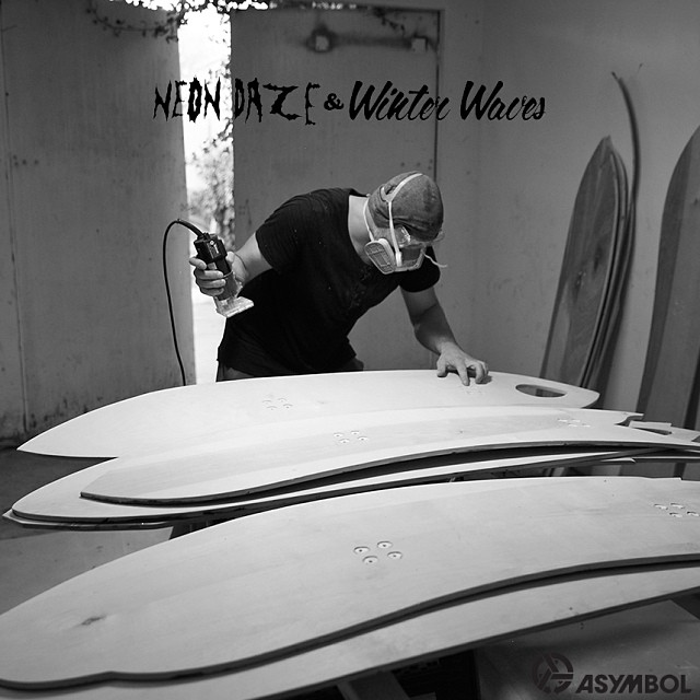 #neondazeandwinterwaves @mikeparillo in the studio hand building these beauties. Launching on Asymbol.co on Friday Feb 7th. Gallery exhibition at CES Contemporary in LA Saturday Feb 8th. #protectourwinters #unionbindingco #poler #springbreaksnowboards...