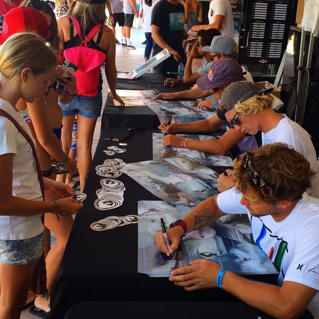The boys are signing down at @jackssurfboards at the #vansusopen. Come on down, say hi and win some free loot! @alejomuniz @taylorclark_ @evangeiselman @acebuchan @sethmoniz