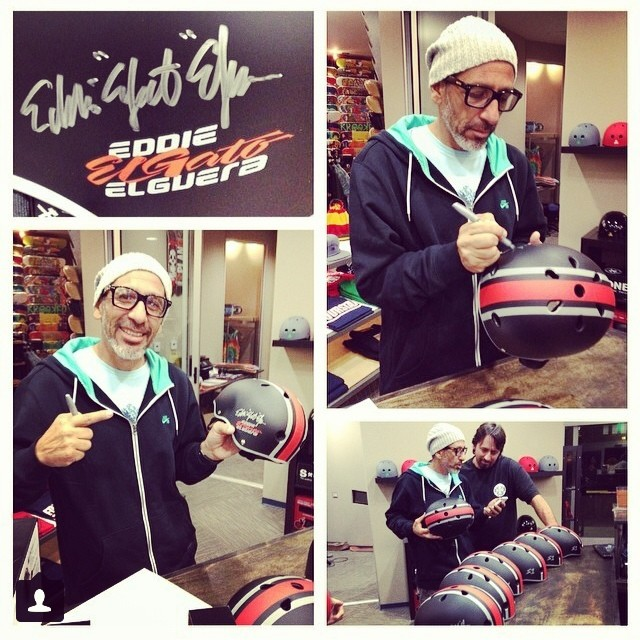 #skatelegend @eddieelguera signing some of his #s1 #lifer #helmets at the @palmsprings_skatepark . #rad #elgato #skatehelmet #skateboarding