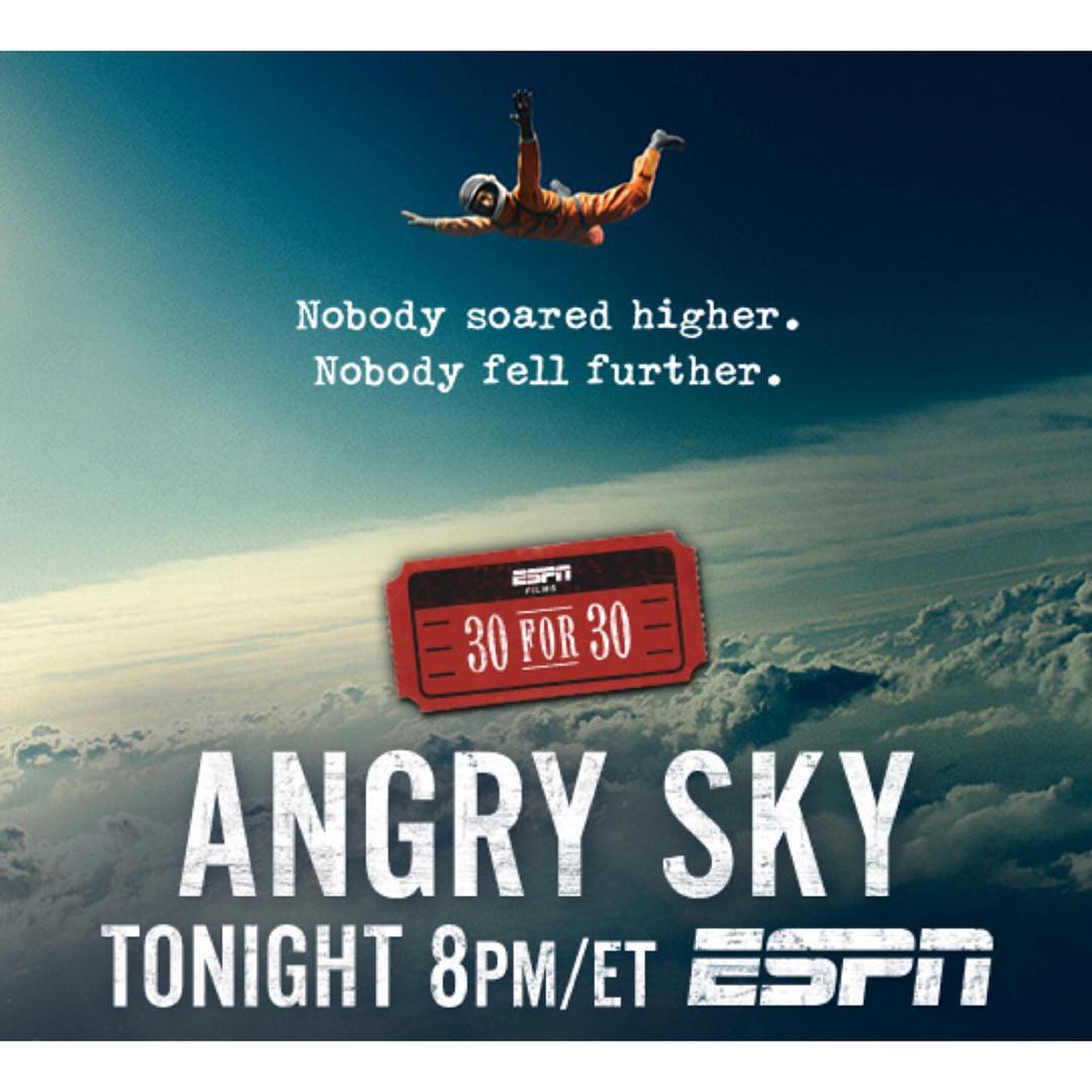 #AngrySky, the story of Nick Piantanida's quest to set the world record for the highest parachute jump, will premiere tonight at 8 pm ET on @ESPN!