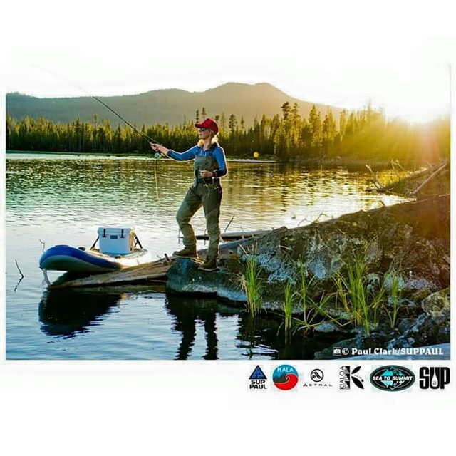 @meaghanlogic fly fishing with her #halahoss . Photo: @suppaul_pics