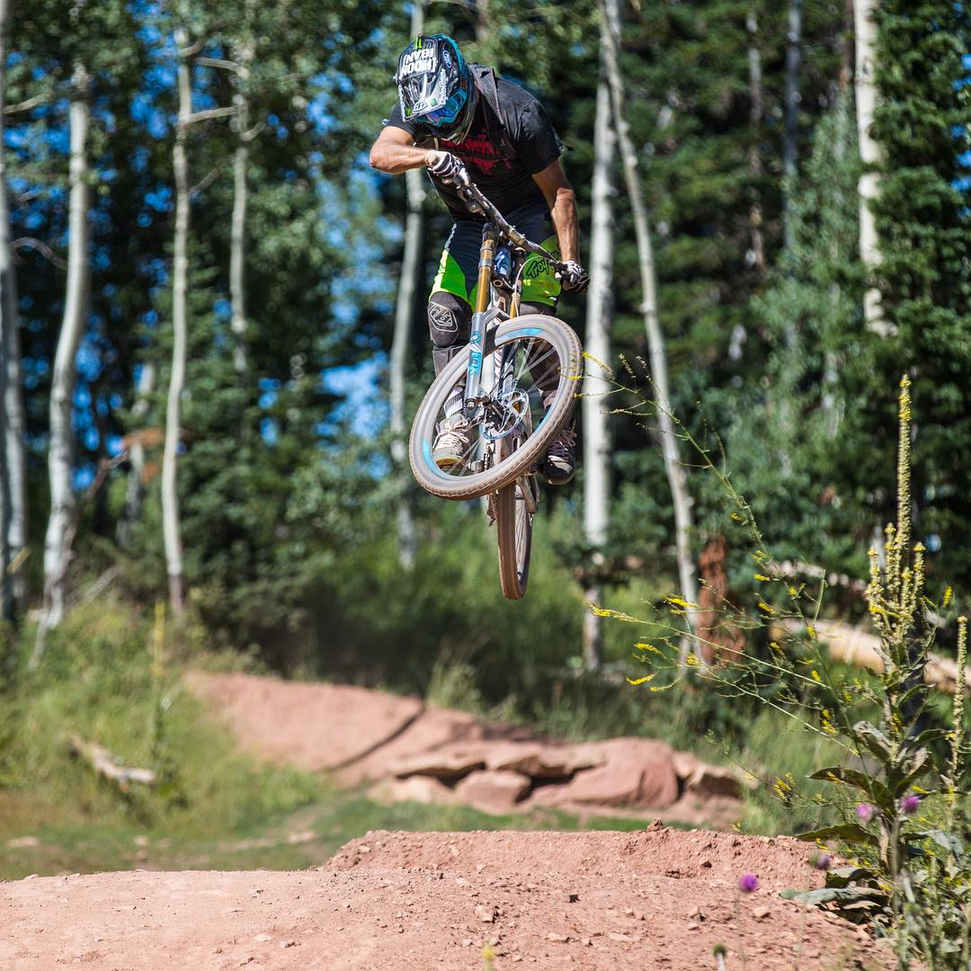 Feels great to be back home and putting in some laps on my Specialized S-Works Demo 8 downhill bike here in #ParkCity. This bike rips! I'm pretty sure the custom painted intergalactic frame makes it even faster than usual. Ha. @iamspecialized...