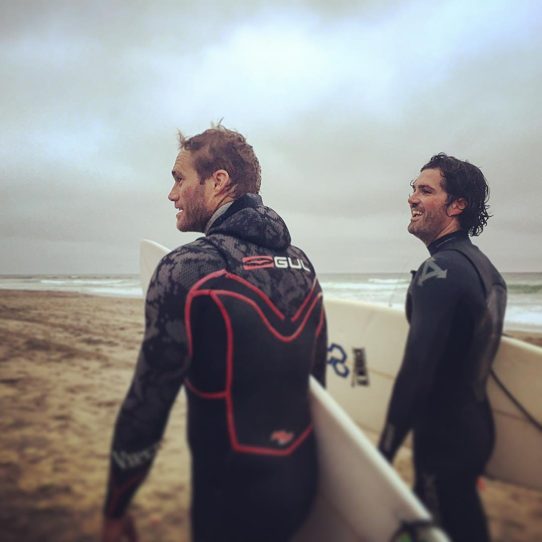 Surfer dudes reunited at OB @mcelberts @ejamestaylor #sanfrancisco #nomads #mytinyatlas #surfing #surfers #oceanbeach