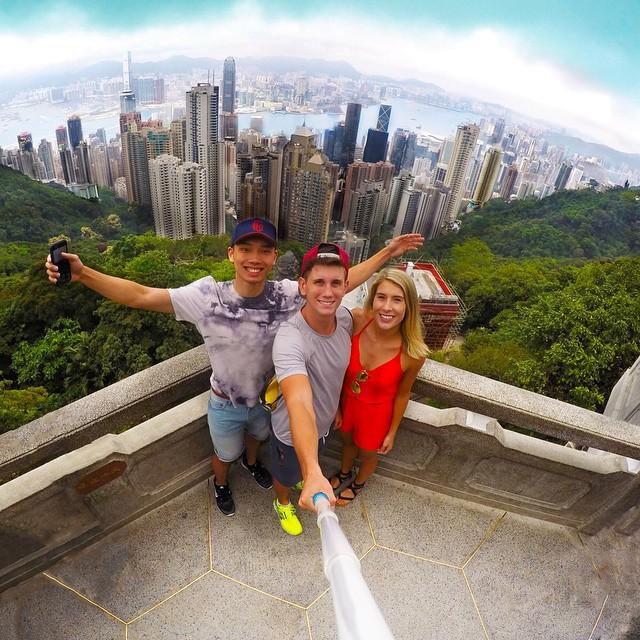 Selfie at Victoria Peak overlooking Hong Kong. Photo: @christian_leblanc GoPro HERO4 | GoPole Reach #gopro #hero4 #gopole #gopolereach #victoriapeak #hongkong