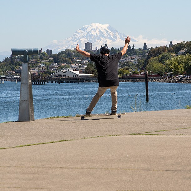 A frame from a lunchbreak film session with DB shop badass Ian Hilger and the Dyad V2. New video in the works! #longboard #longboarding #longboarder #dblongboards #goskate #skateboard #skateeveryday #dyad #mountrainier #tacoma