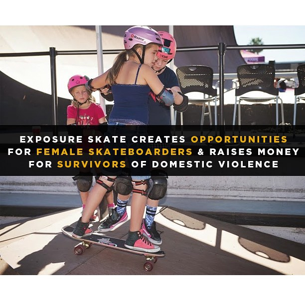 Exposure's skate clinics allow new female skateboarders to learn and enjoy our passion together! @toms_of_maine #OneWayToHelp #entry #CA