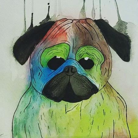 @benmunozart • • #art #spratx #tx #texas #watercolor #ink #puglife #pug