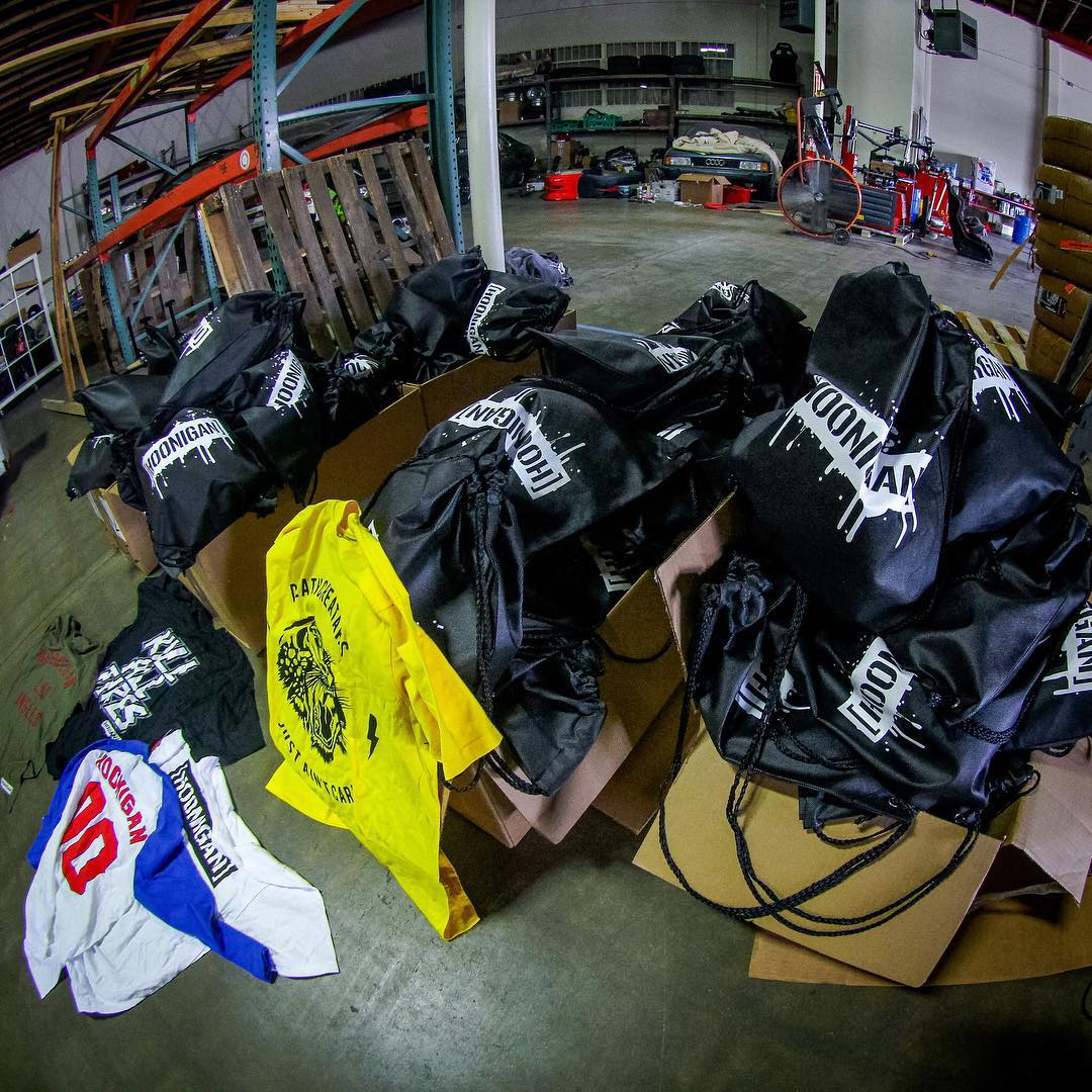 We spent the day packing up some grab bags for #nittoday tomorrow at Anaheim Stadium. Come find our booth and snag yourself one. $75 worth of gear, including unreleased designs for only $30. #autoenthusiastday