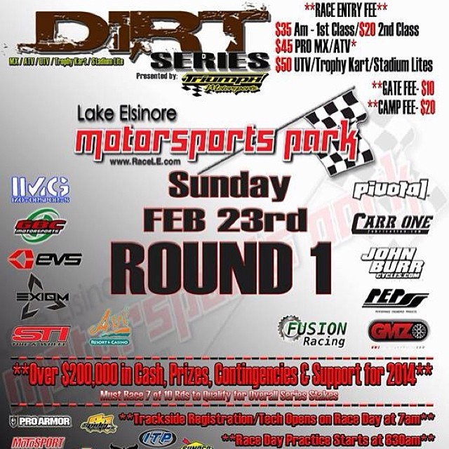 If you happen to be in the Lake Elsinore area, be sure to check out round 1 of the Dirt Series Season Opener @ Lake Elsinore Motorsports Park, Sunday February 23rd! See www.dirtentertainment.com for more info. #kali #kalipro #kaliprotectives...